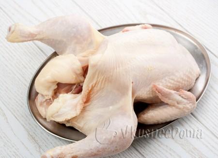 курицу чистим моем и сушим