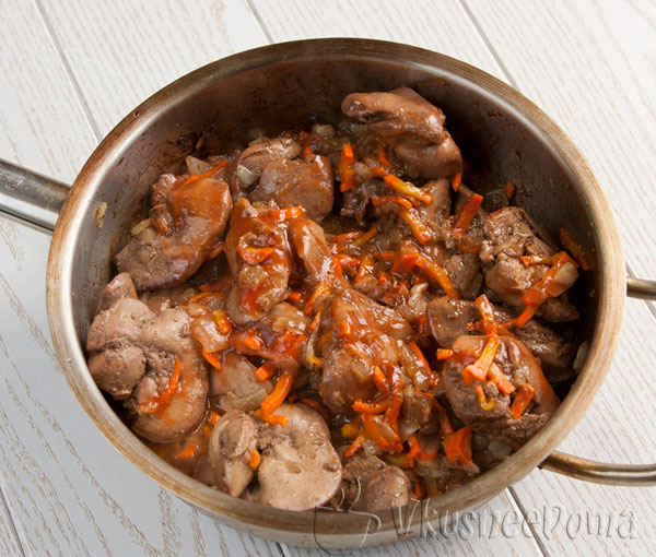 Картофель тушеный с куриной печенью рецепт с фото