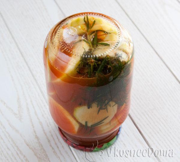 Кабачки консервированные в томатном соке