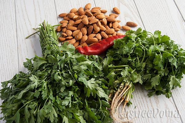 ингредиенты для салат из зелени