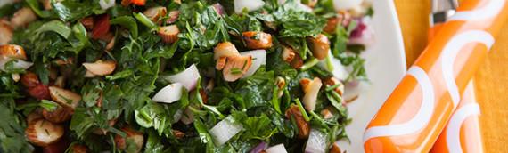 Салат турецкий рецепт из зелени с миндалем