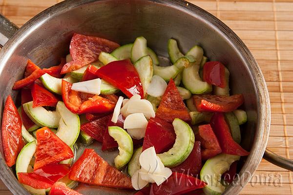 кабачки+перец красный сладкий+чеснок
