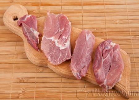 мясо моем, сушим и режем