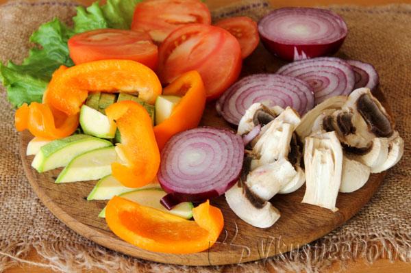 овощи нарезанные для гриля