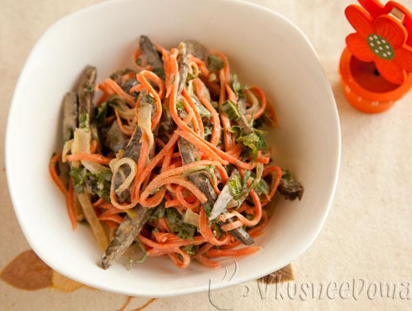 салат с печенью и морковкой корейской
