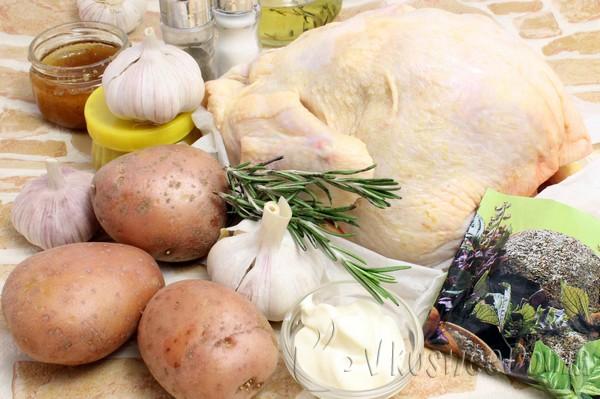 ингредиенты для курицы с картошкой в духовке