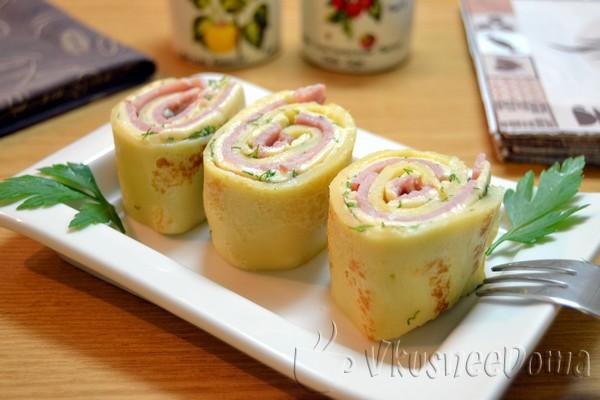 Блины с начинкой из сыра и ветчины рецепт