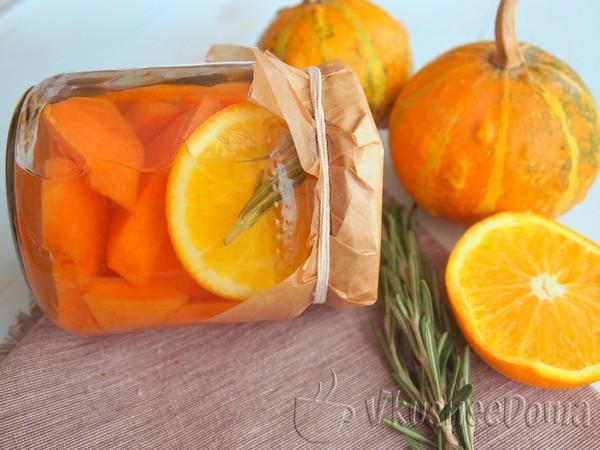 Тыква консервированная на зиму с апельсином и розмарином