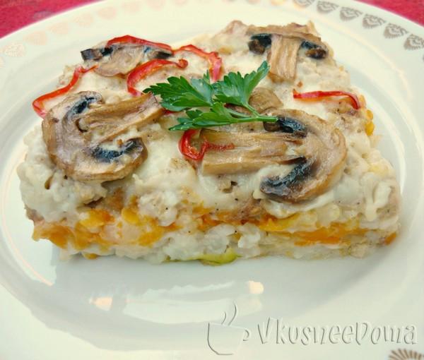 Мясная запеканка рецепт с тыквой и грибами