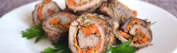 Морковные мясные рулетики с начинкой рецепты с фото