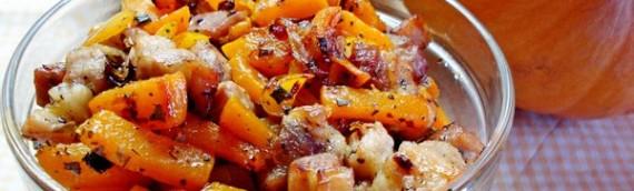 Итальянский салат из свежей тыквы с беконом