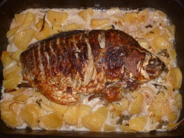 Рыба в сметане с картошкой