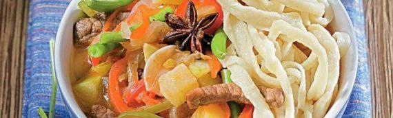 Блюдо восточной кухни — лагман из баранины