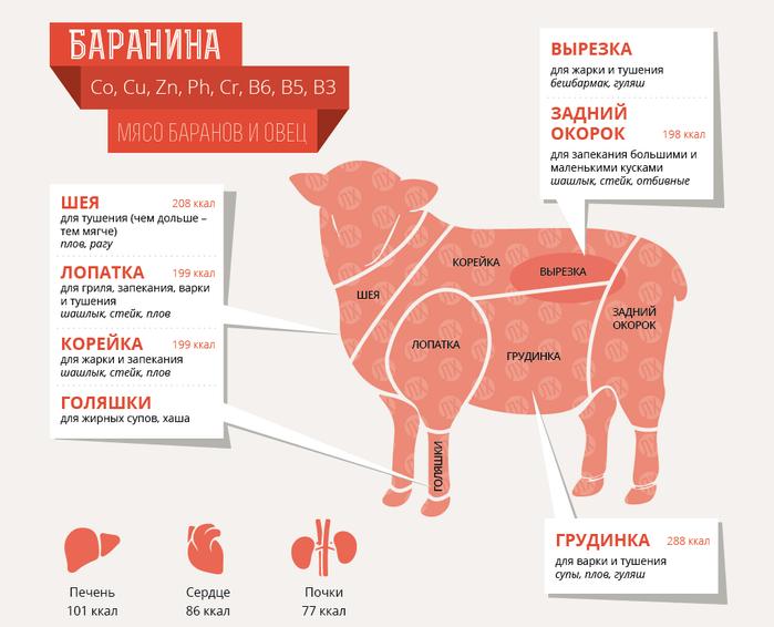 Состав и пищевая ценность баранины