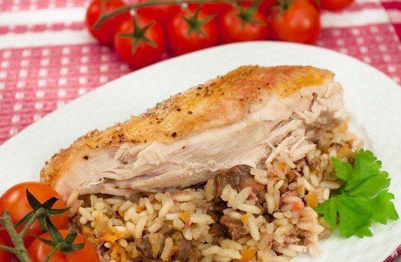 Курица с рисом в рукаве