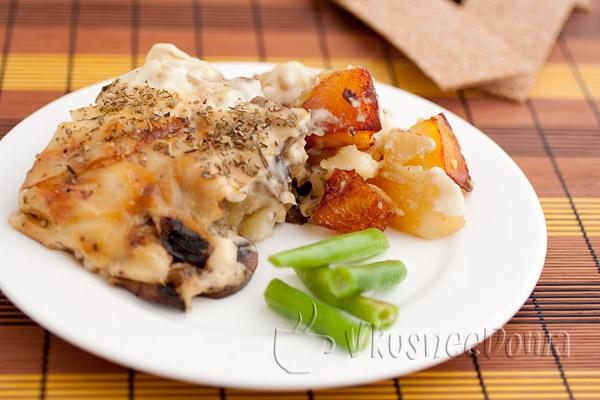 Запеченная картошка с грибами в духовке под Бешамелем