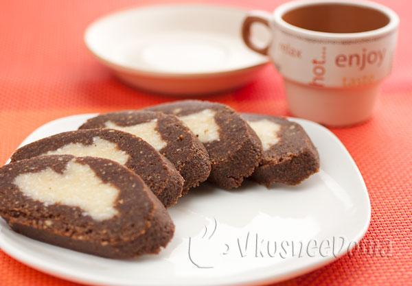 рулет шоколадный с кокосом