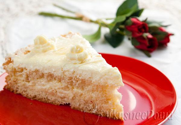 Простой бисквит с очень нежным кремом (рецепт с фото)