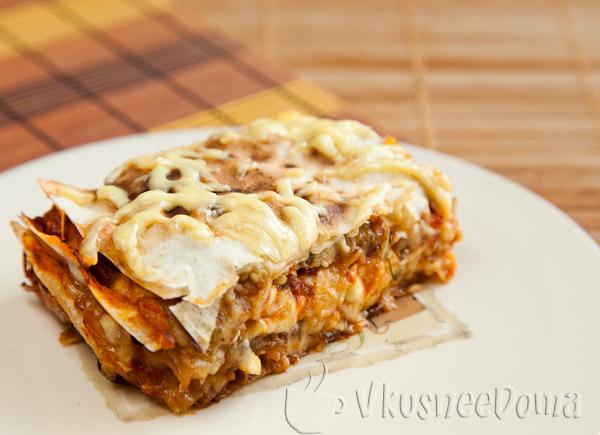 Пирог с баклажанами и сыром из лаваша