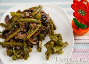 горячий салат с грибами и фасолью