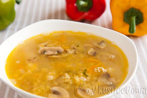 суп с красной чечевицей и грибами
