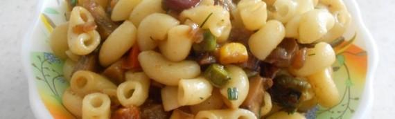 Как приготовить макароны с грибами и овощами