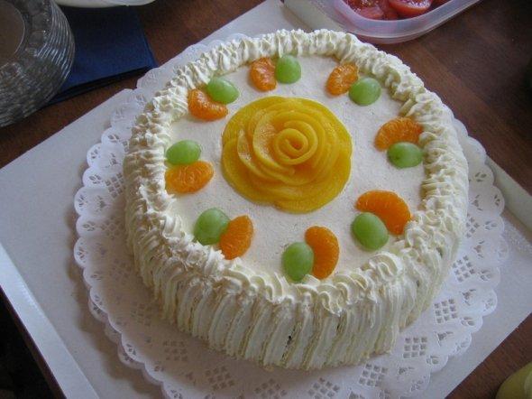 как украсить торт фруктами