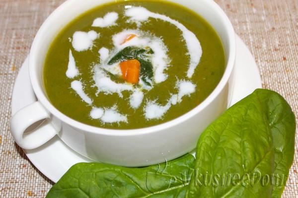 Кремовый суп со шпинатом